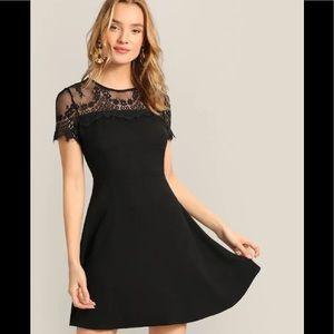 Black Floral Lace Yolk Skater Dress